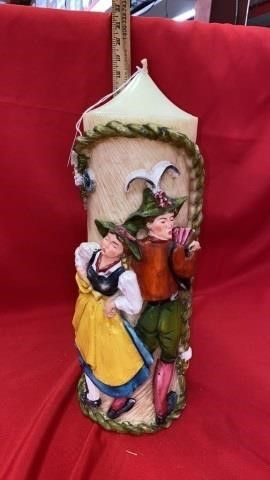 VINTAGE GERMAN CARVED CANDlE   16 INCHES TAll