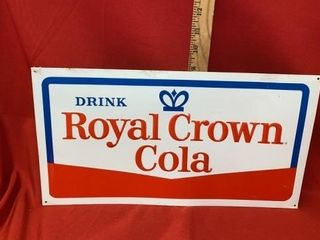 AUTHENTIC VINTAGE ROYAl CROWN COlA TIN SIGN