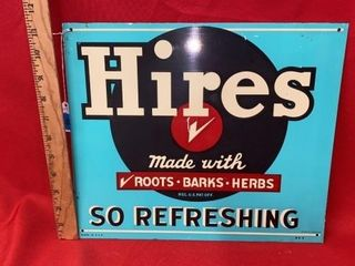 AUTHENTIC VINTAGE HIRES ROOT BEER TIN SIGN