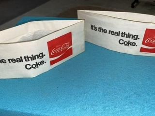 2 AUTHENTIC COCA COlA SODA JERK HATS
