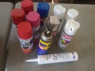 CANS OF PAINT  W D  CERAMIC CAUlK