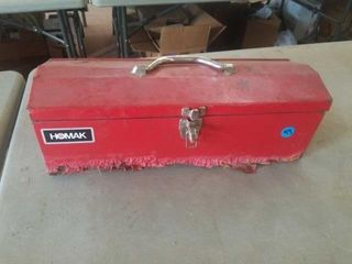 HOMAK TOOl BOX WITH A FEW TOOlS INSIDE
