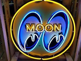 Moon eyes tin neon sign  36in