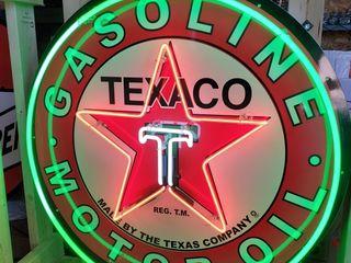 Texaco tin neon sign  36in
