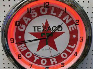 Texaco neon clock  20in