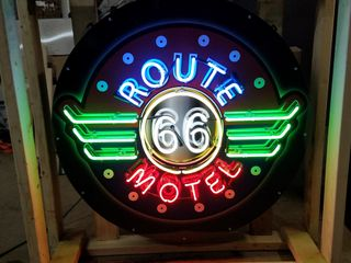 Route 66 Motel tin neon sign  36in