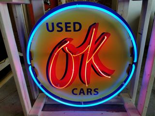 OK used cars tin neon sign  36in