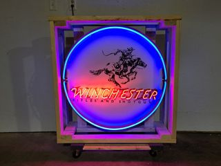 Winchester tin neon sign  36in