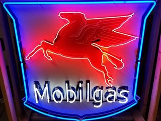 Mobilgas tin neon sign  with flasher  48x48in