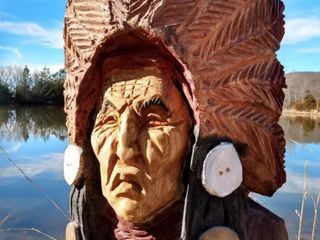 Hand carved wooden Indian head w  headdress