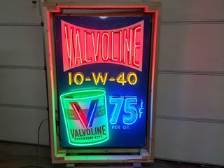 Valvoline tin neon sign  with flasher  36x55in