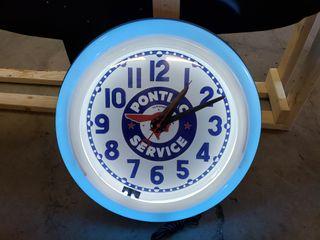Pontiac neon clock  restored  26in