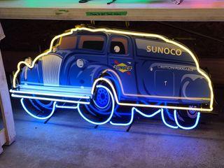 Sunoco tanker truck tin neon sign  36in