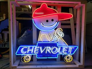 Chevrolet boy tin neon sign  with flasher  48x53in