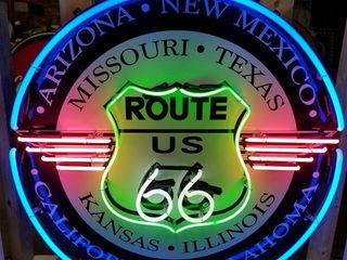 Route 66 tin neon sign  36in