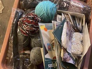 large yarn basket and crafting materials