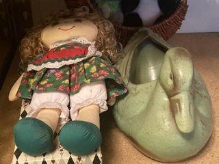 Ceramic duck  chicken basket  vintage jester doll