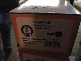 3 Bright Brass Deadbolt Cylinders