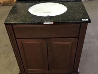 30  Bath Vanity w granite top sink and backsplash