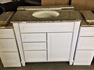 36  Bath Vanity w 12  side drawers   granite tops