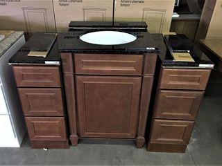 24  Bath Vanity w 12  side drawers   granite tops
