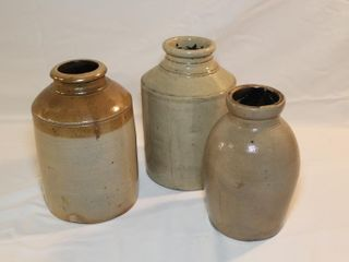 3 stoneware crockery jugs