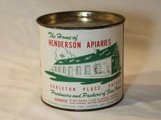 Henderson Apiaries honey tin