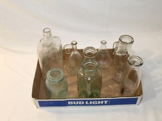 Tray lot of milk bottles  old bottles