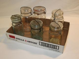 Tray lot of 6 wire top jars