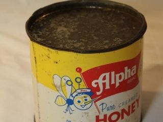 Alpha Brand honey tin