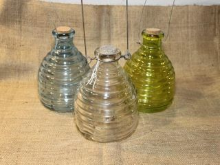 3 glass wasp traps  blue  green and clear