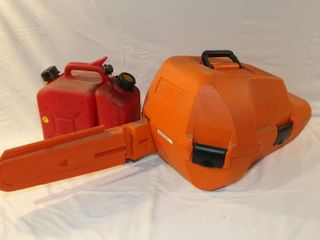 Stihl chain saw case and fuel can