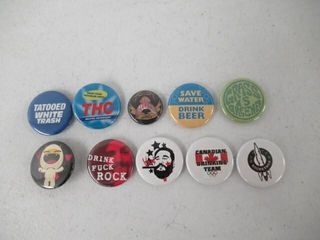 lot Of  10  Various Button Pins