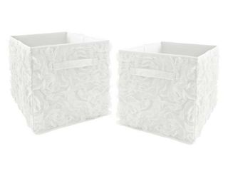 White Floral Rose Foldable Fabric Storage Bins