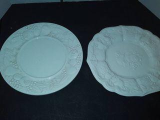 2 White Serving Plates