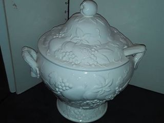 White Colored Soup Tureen  Approximately 12  tall