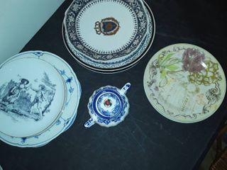 8 Miscellaneous Plates and a Sugar Bowl