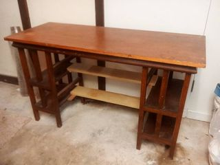 Wooden Work Bench with Cubby Storage 29 x 50 x 20 in