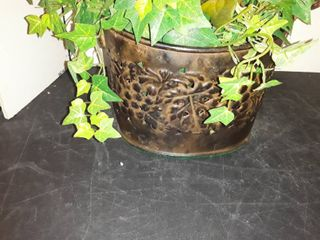 Tin Basket with Faux Plant