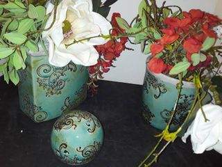2 TURQUOISE COlORED VASES with Faux Flowers and Matching decor