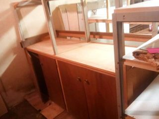 Unfinished Wood Bar with Overhead Racks Approximately 68 x 80 x 33 in