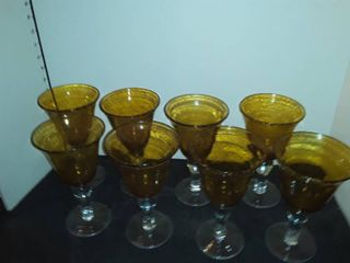 8 set of Amber Colored Drinking Glasses