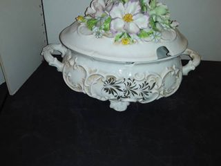 SOUP TUREEN has a chip out of it  No ladel