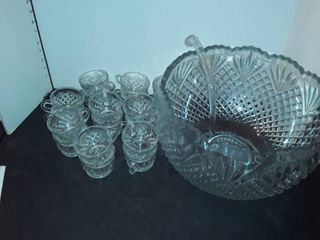 large Punch Bowl with ladel and 18 cups