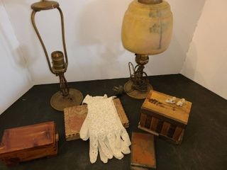 ANTIQUE lAMPS  Approximately 13  tall  BOXES  and pair of lace Gloves