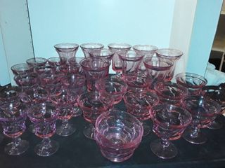 35 pc Set of Pink Shaded Glass