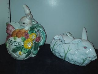 FITZ and FlOYD RABBIT PITCHER and Rabbit TUREEN