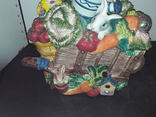 FITZ and FlOYD BUNNIES ON and IN WHEElBARROW  COOKIE JAR