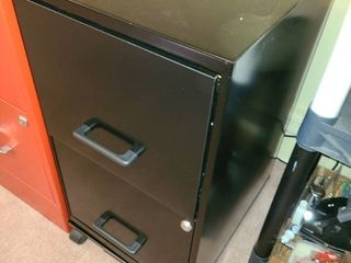 Black rolling metal filing cabinet 2 drawers