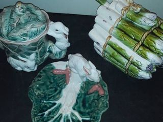 RABBIT and lETTUCE PITCHER and BOWl  AlSO an ASPARAGUS SOUP TUREEN